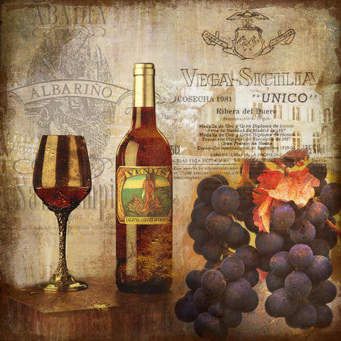 Wine And Grapes Vintage Art by Hitesh Tulsani