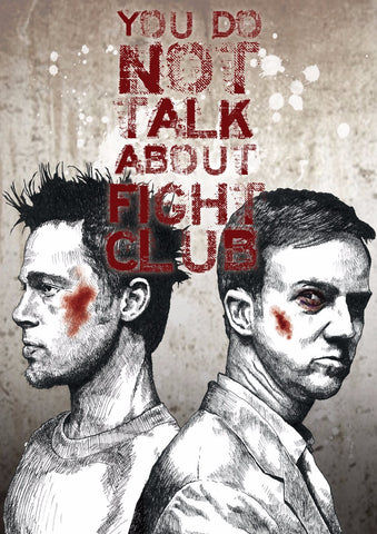 Graphic Art Poster - Fight Club Quote - You Do Not Talk About The Fight Club - Hollywood Collection