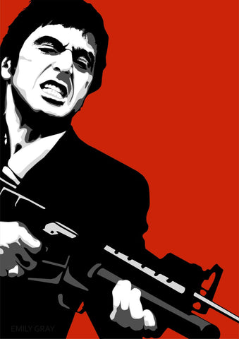 Graphic Art Poster - Scarface - Tony Montana - Say Hello To My Little Friend - Hollywood Collection