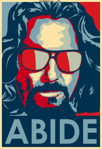 Graphic Art Poster - The Big Lebowski - Dude Abide - Hollywood Collection