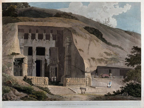 Great Chaitya Temple on the island of Salsette Maharashtra - William Daniell - Vintage Orientalist Aquatint of India c1800