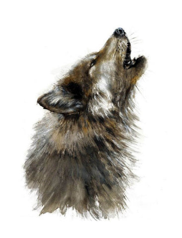 Grey Howling Wolf - Watercolor Animal Painting