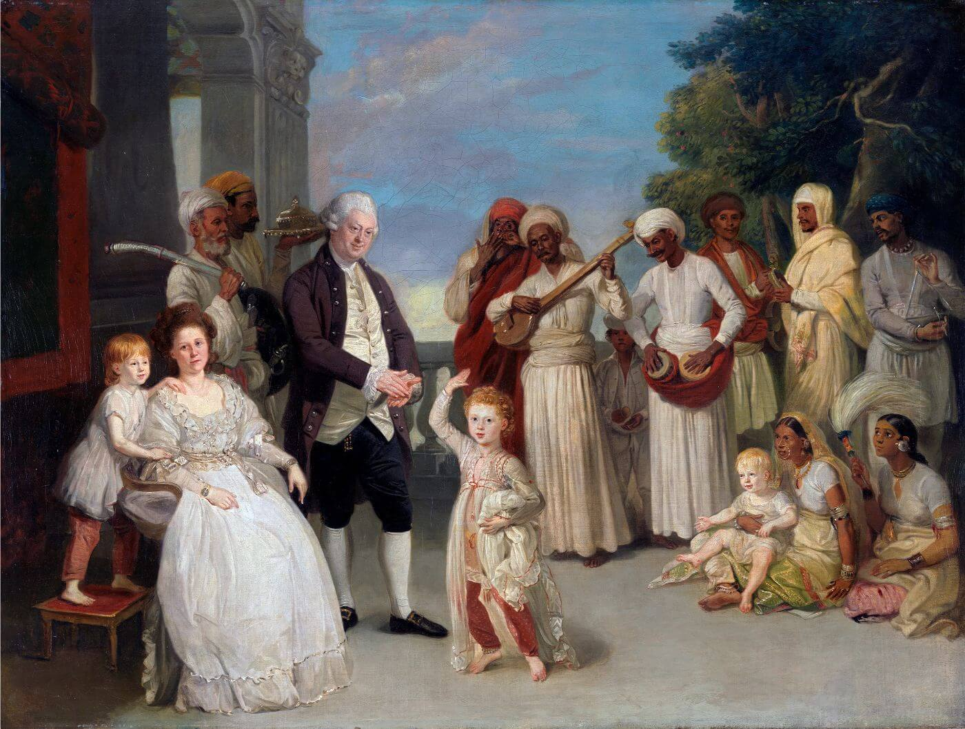 Group Portrait of Sir Elijah and Lady Impey - Lucknow - Johan Zoffany - c 1785 Vintage Orientalist Paintings of India