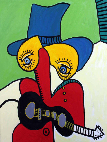 Guitarist With Hat - Canvas Prints