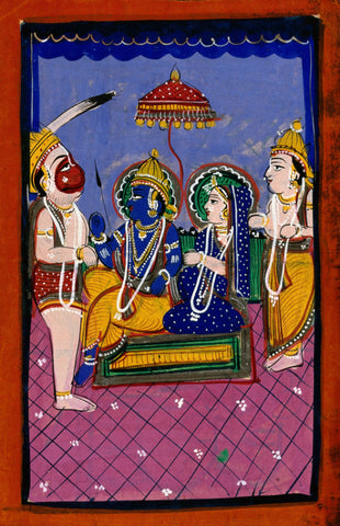 Hanuman Before Rama And Sita And Attendant