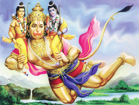Hanuman Carrying Ram And Lakshman by Raghuraman