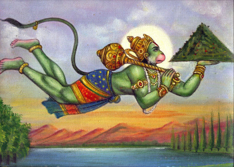 Hanuman Carrying The Gandhamadan Mountain - Indian Ramayana Painting