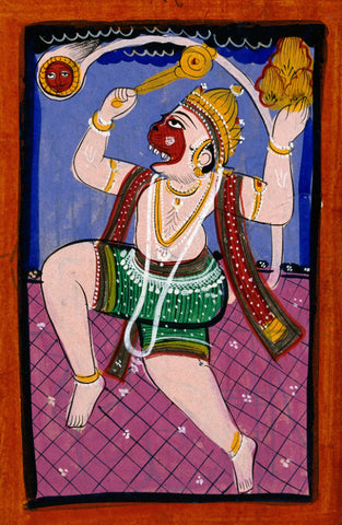 Hanuman With The Sun In His Tail Carrying The Mountain