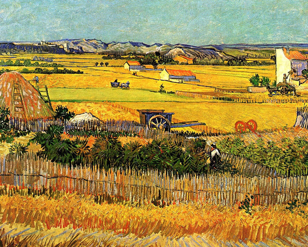 Artwork of Harvest At La Crau with Montmajour in the Background by Vincent Van Gogh