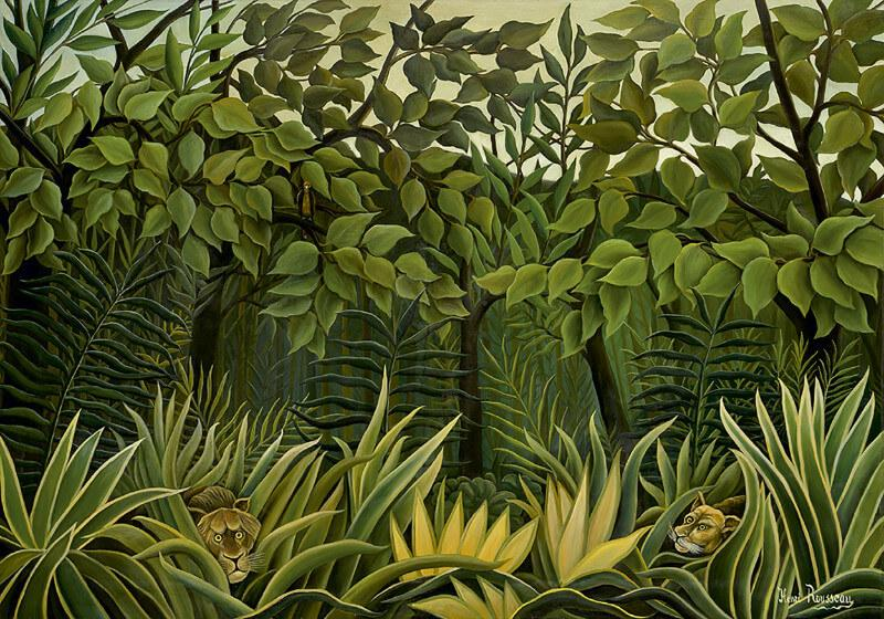b4f0ffaf086 Two Lions On The Prowl In The Jungle - Posters by Henri Rousseau ...