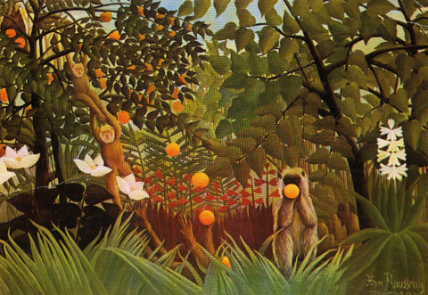 Exotic Landscape (Monkeys Eating Oranges)