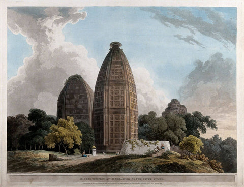 Hindu Temples at Bindraban on the river Jumna - Thomas Daniell  - Vintage Orientalist Paintings of India by Thomas Daniell