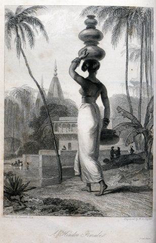 Hindu Woman - William Daniell  - Vintage Orientalist Paintings of India