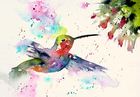 Hummingbird - Colorful Painting - Bird Wildlife Art Print Poster