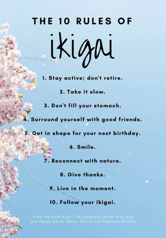 Ikigai 生き甲斐  - 10 Rules For A Long An Happy Life - Japanese Concept  Motivational Poster by Tallenge