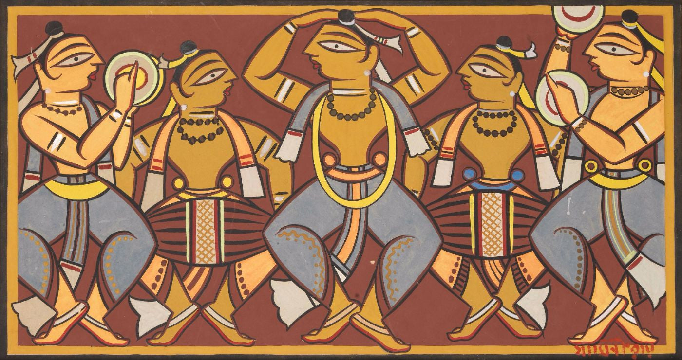 Santhal Dancers - Framed Prints by Jamini Roy | Buy Posters, Frames, Canvas  & Digital Art Prints | Small, Compact, Medium and Large Variants