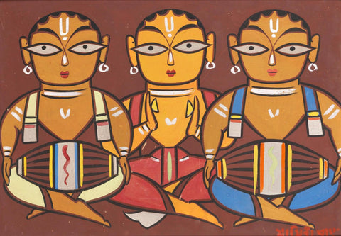 Three Musicians by Jamini Roy