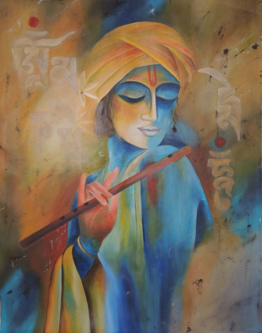 Indian Art - Contemporary Collection - Digital Painting - Krishna Playing flute