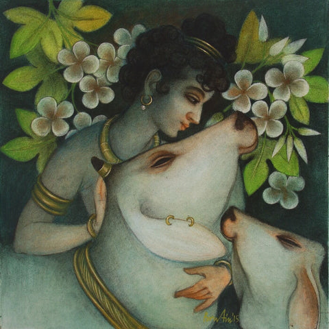 Indian Art - Contemporary Collection - Krishna With Hamsi And Pingala
