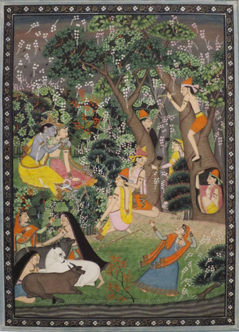 Indian Art - Krishna Colletion - Contemporary Art - Krishna and Radha playing with friends.