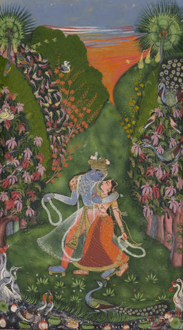 Indian Art - Krishna Colletion - Rajasthani painting - Krishna and radha walk in a flowering groove