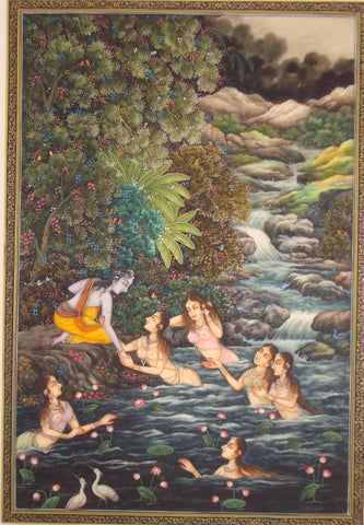 Indian Art -  Miniature Painting - Krishna With Gopis