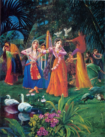 Indian Art -  Miniature Painting - Rajasthani Painting - Radha and Gopis Dancing In Vrindavan