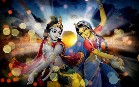 Indian Art - Modern Painting - Krishna Dancing with Radha Rani