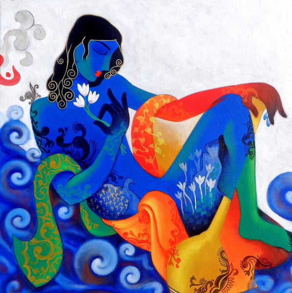 Indian Art - Painting - Krishna in Contemplation - Art Prints