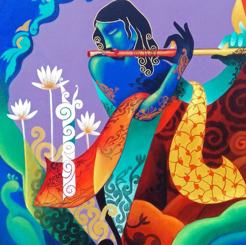 Indian Art - Painting - Krishna Playing the Flute 2 - Art Prints