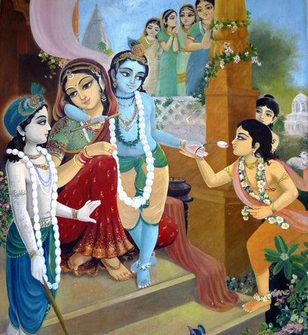 Indian Art - Vintage Art - Krishna with Yasoda and Gopis