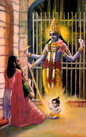Indian Art - Vintage Painting - Lord Krishna Appears in the Prison of Kamsa - Janmastami