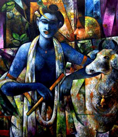Indian Art - Acrylic Painting - Cowherd Krishna by Raghuraman
