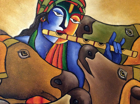 Indian Art - Acrylic Painting - Govardhan Krishna - Life Size Posters