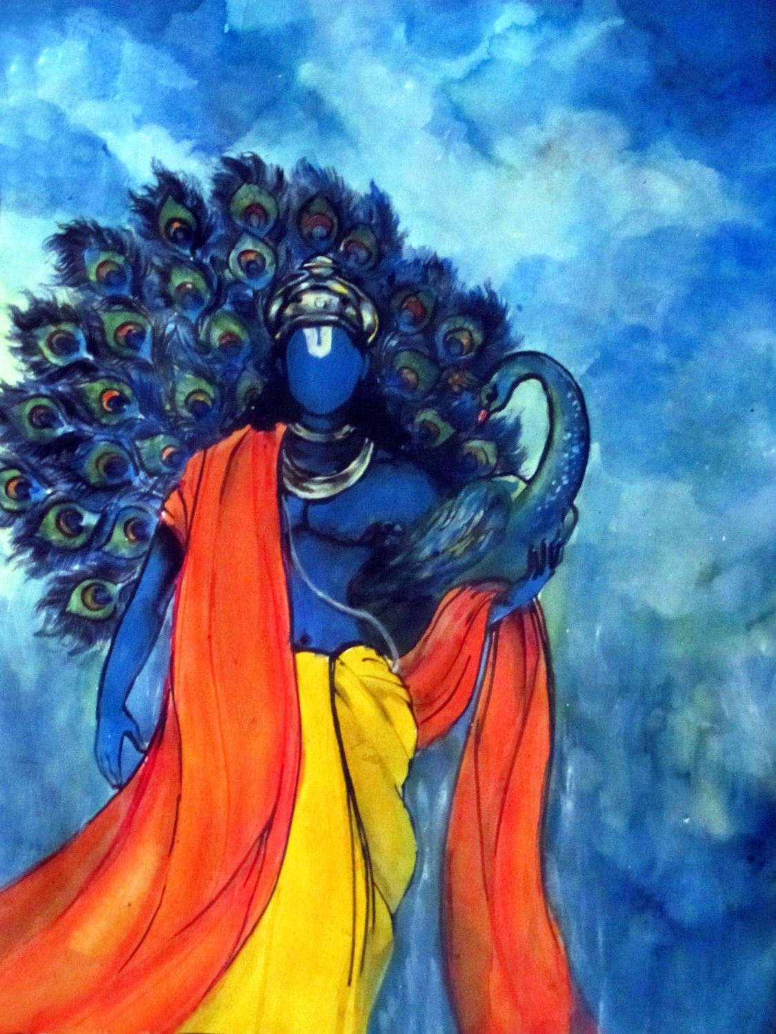 indian art acrylic painting krishna with peacock by raghuraman