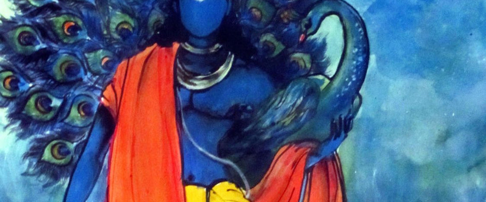 Indian Art - Acrylic Painting - Krishna with Peacock by Raghuraman | Buy Posters, Frames, Canvas  & Digital Art Prints