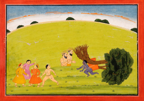 Krishna Uprooting the Tree c. 1750 by Anonymous Artist