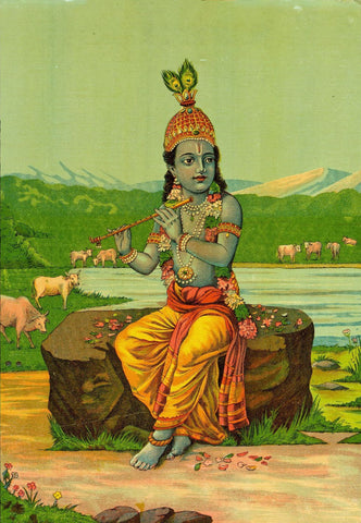 Color Lithograph of Murlidhar Krishna