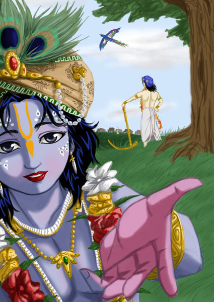 Indian Art - Digital Painting - Cowherd Krishna - Art Prints
