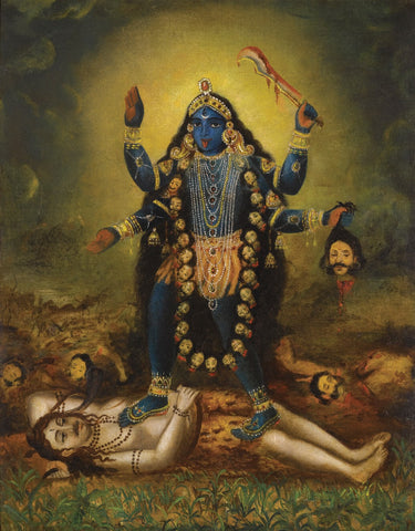 Indian Miniature Art - Goddess Kali by Kritanta Vala
