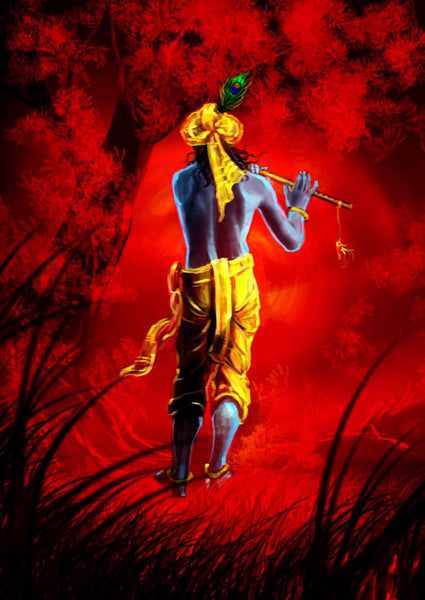Indian Art - Fantasy Art - Krishna in the Forest - Canvas Prints