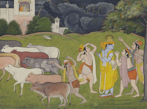 Indian Miniature Art - Pahari Style - Krishna And The Call Of The Flute