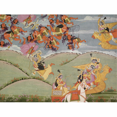 Indian Miniature Art - Pahari Style - Krishna Rescues Arjuna In A Battle with Nikumbha