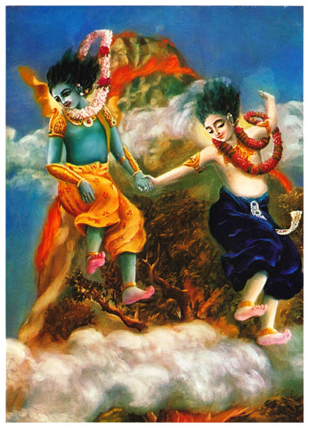 Krishna and Balaram Jump From Mountain by Anonymous Artist