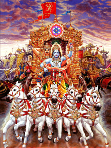 Indian Art Mahabharat Lord Krishna Driving Chariot Of