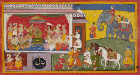 Mewar Ramayan: Bharat With Rams Sandals On The Throne - 17th Century - Framed Prints