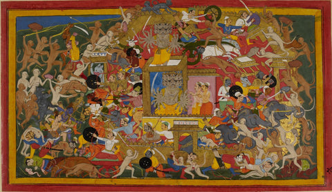 Mewar Ramayan: The Army Of Ram Battling The Forces Of Ravan At The Battle Of Lanka - 17th Century - Framed Prints