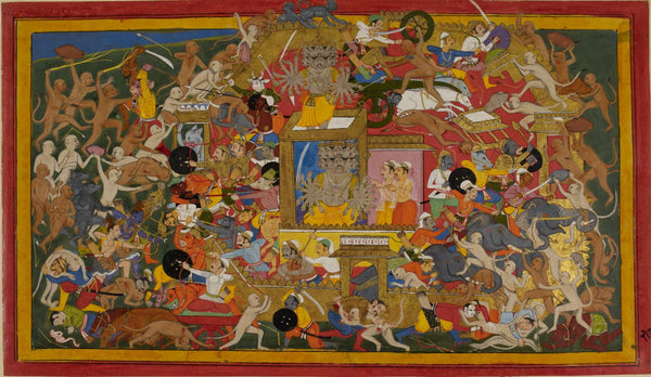 Mewar Ramayan: The Army Of Ram Battling The Forces Of Ravan At The Battle Of Lanka - 17th Century - Art Prints