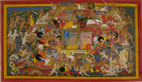 Mewar Ramayan: The Army Of Ram Battling The Forces Of Ravan At The Battle Of Lanka - 17th Century by Anonymous Artist