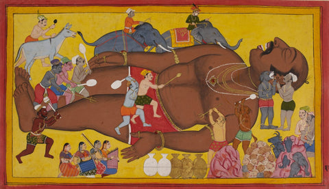 Mewar Ramayan: Waking Up Kumbhkarn - 17 Century by Anonymous Artist